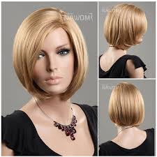 hairdo meck length new european kanekalon side swept bang gold straight neck length