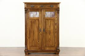 Jelly Cabinet With Glass Doors German Arts U0026 Crafts Antique 1900 Pine Pantry Jelly Cupboard
