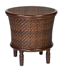 Rattan Accent Table Rustic Living Room Coffee End Table Brown Rattan Wicker