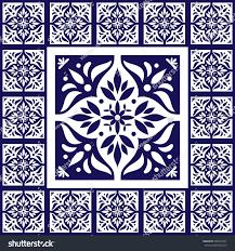 Tile Floor In Spanish by Blue White Tiles Floor Pattern Vector Stock Vector 499474237