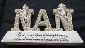 nan letters memorial plaque with cherub grave ornament