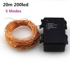 66ft battery led string light 20m 200led 6pcsaa battery operate led
