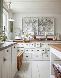shabby chic kitchen design with vintage furniture set feat