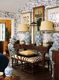upscale home decor with wallpaper and chinese pottery and wooden