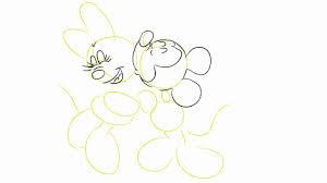 draw mickey minnie kissing drawing tutorial hd