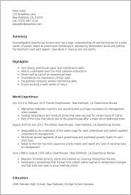 Types Of Resumes Examples by Professional Greenhouse Worker Templates To Showcase Your Talent
