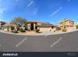 southwestern ranch style house rooftop solar stock photo 190804763