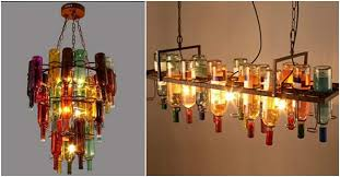 How To Make A Chandelier Out Of Beer Bottles Bottle Chandelier Lighting Fixture How To Instructions