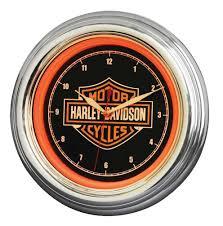 amazon com harley davidson bar u0026 shield orange led wall clock
