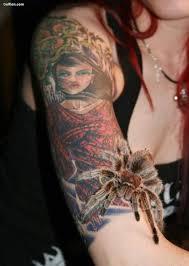women show stunning face tattoo design on right arm golfian com