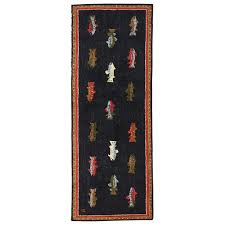 Fish Runner Rug River Fish Hooked Wool Runner Rug 96 X 30 Free Shipping