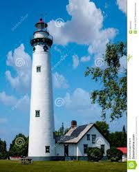 new presque isle light house on lake huron stock photo image