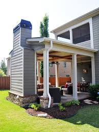 outdoor covered patio with fireplace great addition idea screen