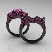 black gold sapphire engagement rings k black gold carat pink sapphire engagement ring r bgps in