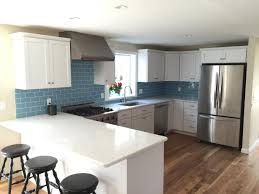 kitchen contemporary blue backsplash subway tiles subway tile