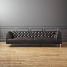 Large Black Leather Sofa Low Profile Leather Sofas Cb2
