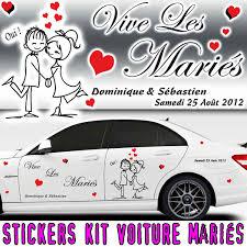 kit deco voiture mariage sticker voiture mariage avec personnages kit 2 cotés
