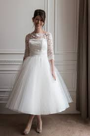 half sleeve wedding dresses lace top wedding dresses tea length