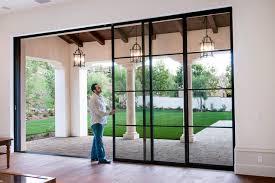 Exterior Pocket Sliding Glass Doors Steel Pocket Sliding Doors Mediterranean Patio Orange County