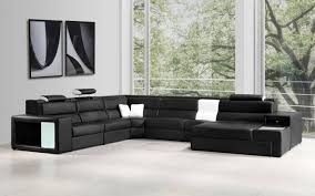 Corner Sectional Sofa Vig Contemporary Divani Casa Polaris Black Bonded Leather Corner