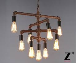 industrial lights diy made rustic iron pipe vintage 9 edison