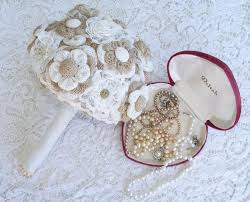 Shabby Chic Wedding Bouquets by Burlap And Lace Bridal Wedding Bouquet Rustic Burlap Flower
