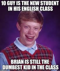English Student Meme - bad luck brian meme imgflip