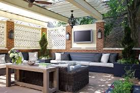 rooftop deck with pergola and built in seating transitional