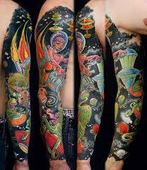 full sleeve space tattoo designs for men tattoo love