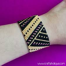 beaded cuff bracelet patterns images Beautiful peyote stitch cuff bracelet pattern in black gold pink jpg