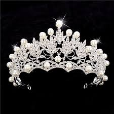 silver headband women pearl silver crown tiara hair accessories