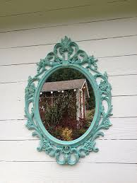 blue wall mirror ornate nursery mirror shabby chic mirror