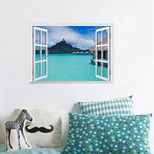 compare prices on ocean vinyl wall decals online shopping buy low 3d window wall stickers home decor forest tree ocean landscape wallpaper murals vinyl wall art decal