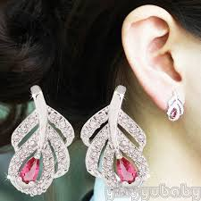 left side earring leaf shaped earring post studs left and right side fashion jewelry