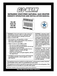 glo warm natural gas heater manual hvac ventilation architecture