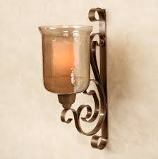 Wall Candle Sconces With Glass Beautiful Wall Decor With Scroll Pattern Candle Holder Wall Sconce