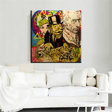 popular posters pop art buy cheap posters pop art lots from china cm127 alec monopoly wall street arts canvas pop art giclee poster printed on canvas for wall