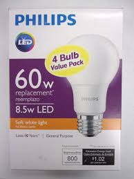 philips 4pk 8 5w 60w led soft white a19 bulbs ebay