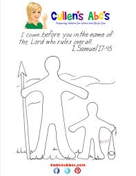 bible key point coloring page david and goliath online