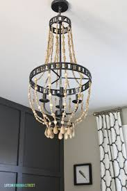 home office makeover with diy wood bead chandelier remodelaholic