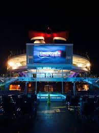 carnival triumph dive in theater with popcorn and fuzzy blankets