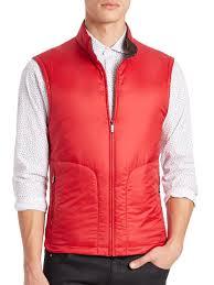z zegna reversible bodywarmer padded vest in red for men lyst