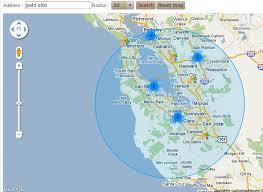 draw a radius on a map geocode factory s features list