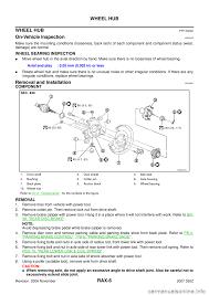 nissan murano wheel bearing replacement nissan 350z 2007 z33 rear axle workshop manual