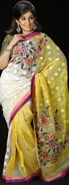 jamdani saree bangladesh yellow white jamdani bangladeshiyellow white jamdani
