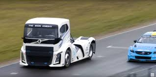volvo track truck versus race car track battle outcome is impossible to