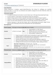 resume exle for excel with vba sql cv doc 2 5 yr exp dkumar