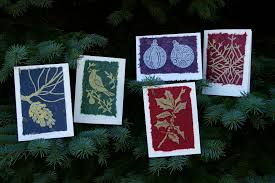 holiday collection of linocut greeting cards during quiet time