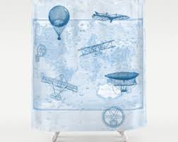 Airplane Shower Curtain Cream On White World Map Shower Curtain Historical Map