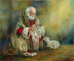 santa kneeling at the manger jesus and santa claus picture believing in christmas from santa